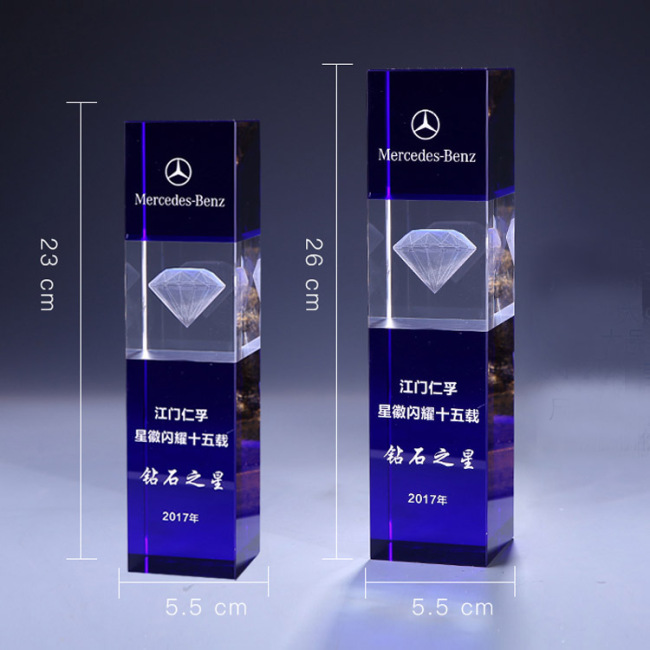 guangzhou Creative Custom 3d Laser Engraving blue And White Crystal cube trophy Awards For Company Business Anniversary Gift
