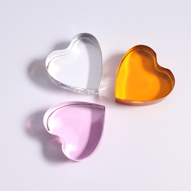 PINK 3D Heart Shaped Crystal Paperweight for Souvenir
