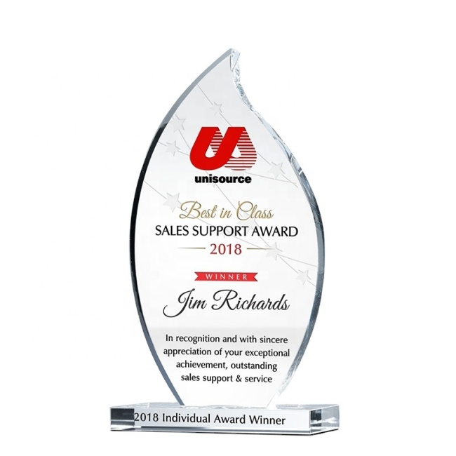 Free Customized Engraved Blank Crystal Flame Award Crystal Glass Plaque Trophy