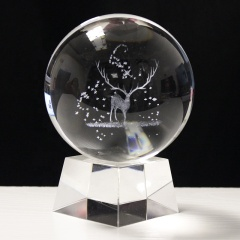3D Moon Crystal Ball Paperweight Laser Engraved Glass Sphere Display Globe Meditation Ball Home Decor with Crystal stand