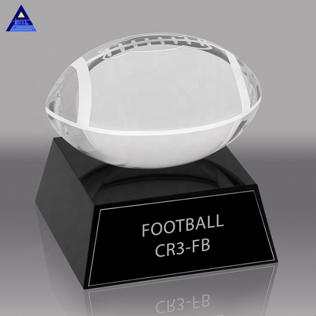 Wholesale Factory Price K9 American Football Fantasy Crystal Football Trophy For Gift
