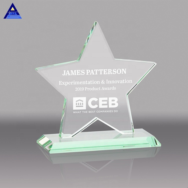 Unique star shape transparent crystal award trophy for souvenir gifts