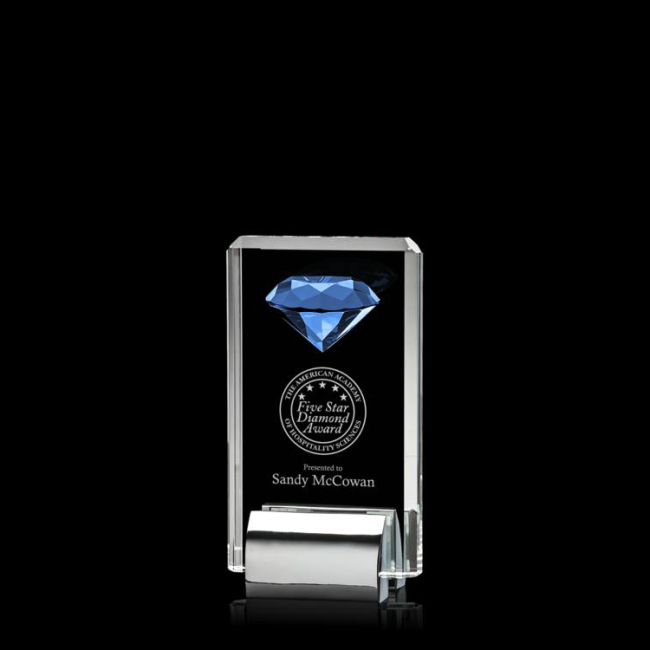 Wholesale cheap clear k9 metal base transparent crystal inlaid diamond award