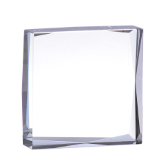 Souvenir Blocks Use 3D Laser Engraved Square Crystal Glass Paperweight For Corporation