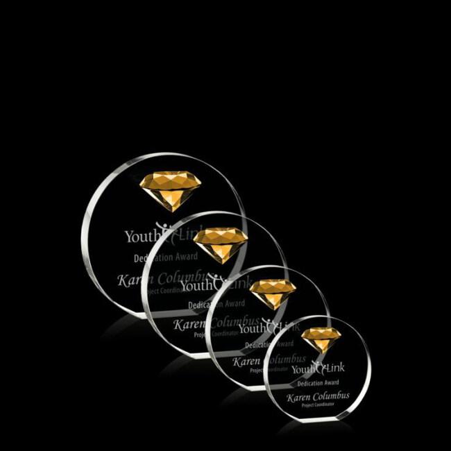 2020 new blue yellow red wholesale Clear K9 Semicircle Custom Diamond Crystal Award