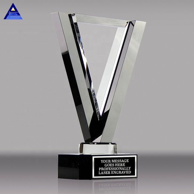 Wholesale Custom Competition Crystal Trophy Award Glass Blank Plaque For Souvenir Gift