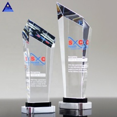 Free Design Custom Made Steadfast Crystal Award Trophy With Engraved Logo