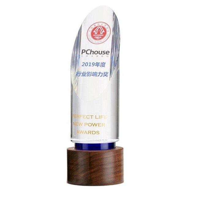 New design crystal trophy  award custom creative solid trophy wooden Ice peak obelisk crystal award