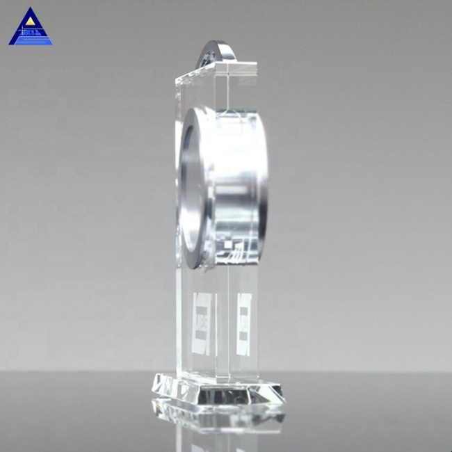 Classical Clear Eternity Crystal Desk Top Clock For Wedding Return Gifts
