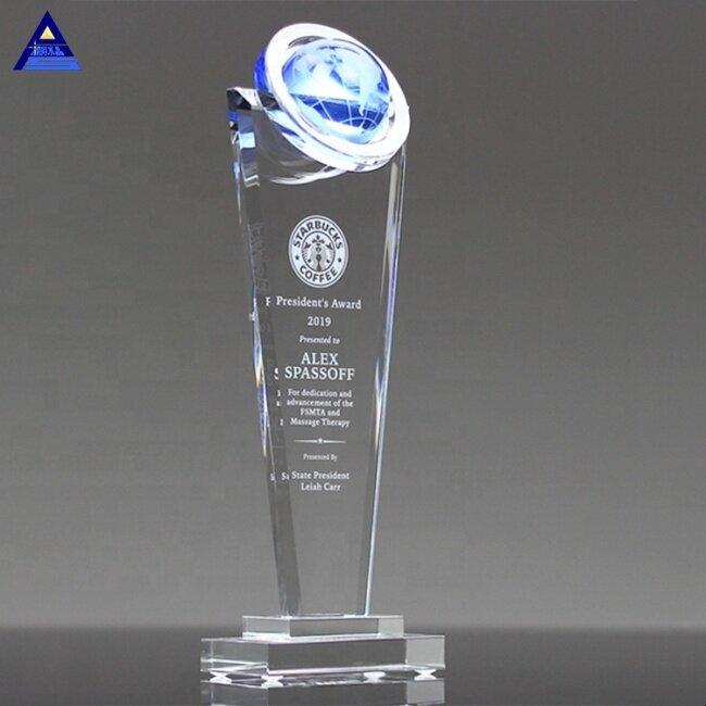 K9 Best Quality Crystal Corporate New Design World Globe Surge Award Trophy