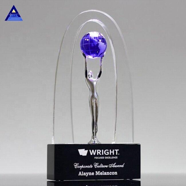 Hot Sale Design Allegory World Globe Crystal Glass Trophy Award