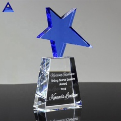 Wholesale Customized Creative Blue Meteor Crystal Trophy With Star