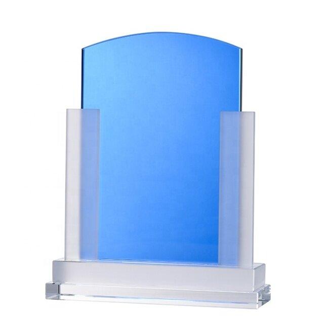 New Design Custom Blue Cheap Crystal Glass Shield Trophy Award For Souvenir Plaque