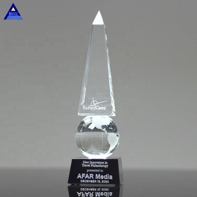 Customized Crystal Monumental Globe Obelisk Trophy For Company Corporate Awards