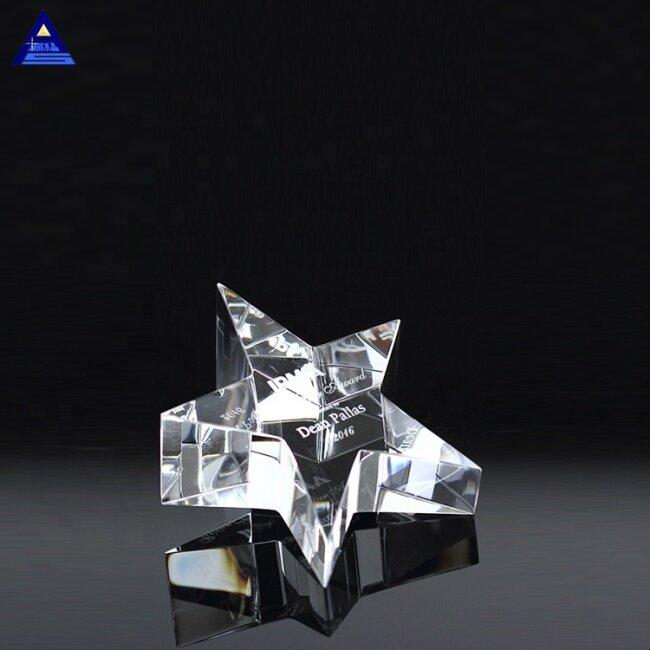 Custom Engraving Log K9 Material Crystal Star Paperweight Trophy