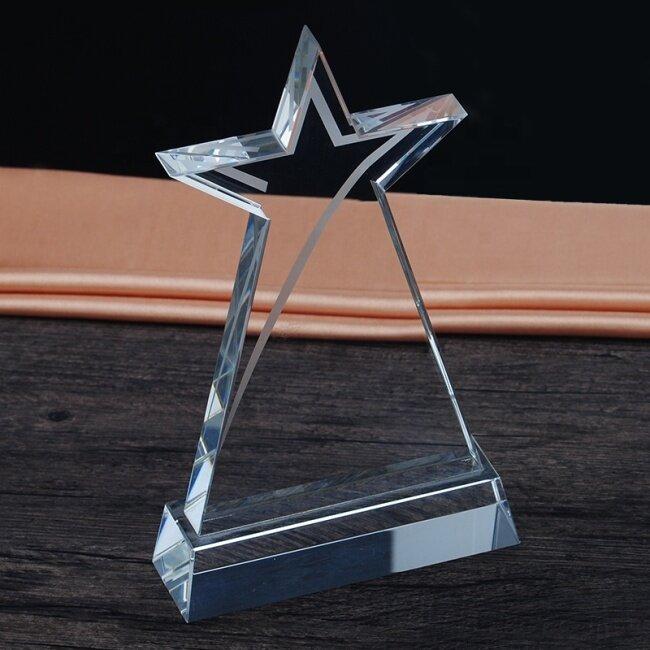 New Design Custom Engraved Star Diamond Trophy Crystal Plaque K9 Crystal Trophy Award