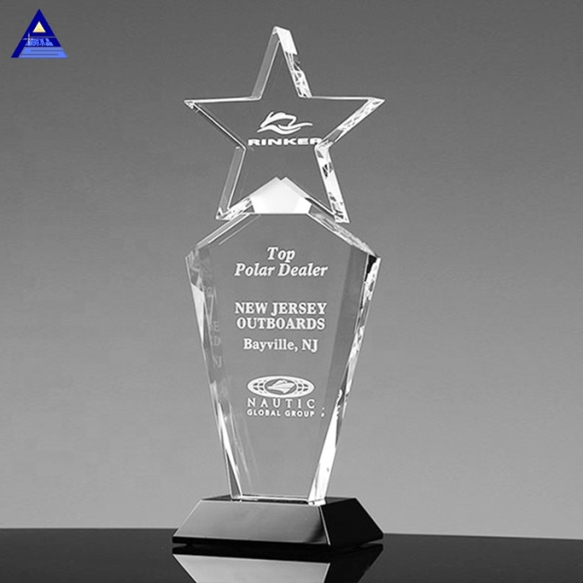 High Quality Wholesale Star Crystal Award Glass Trophy Souvenir