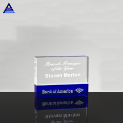 2020 Printing 3D Laser Photo Trophy Blue-Clear 3D Laser Engraved Crystal