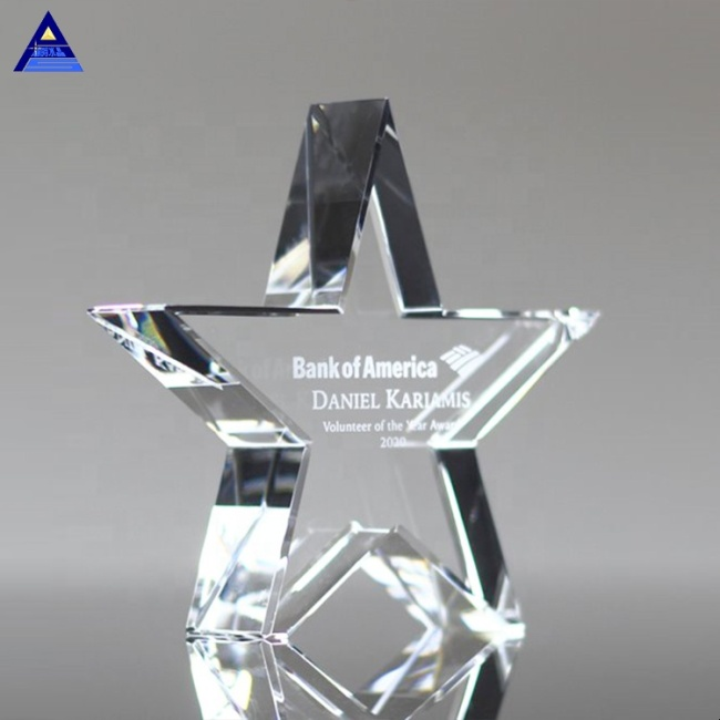 Cheap Simple Unique Cut Clear Star Crystal Glass Trophy Gift