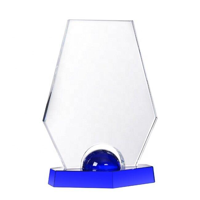 Hot Sale Custom Various Clear Blank Crystal Trophy Award Souvenir With Base