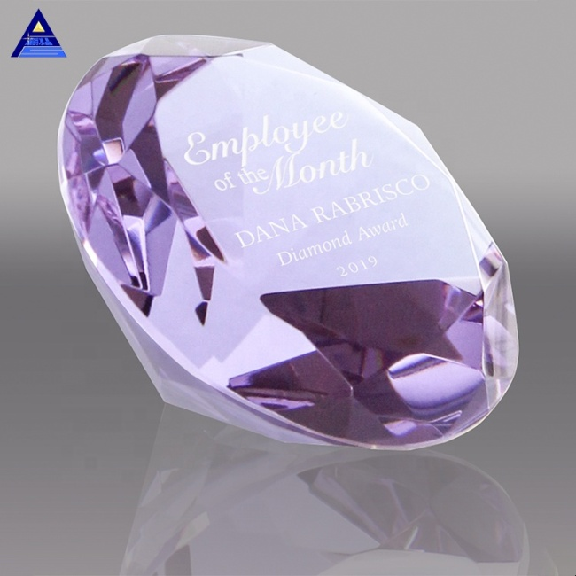 Purple Crystal Glass Diamond paperweight for Wedding