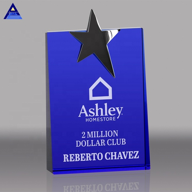 Custom Design Logo Stars Metal Crystal Trophy For Business Gift