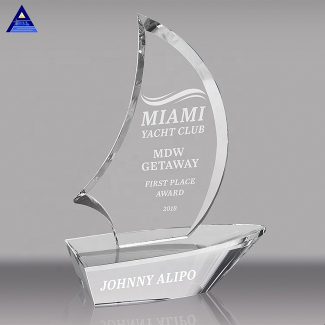 Wholesale Business Award Crystal Sailboat,Father'S Day Crystal Gift For Leadship Glass Awards Trophies