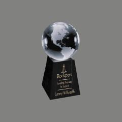 Decorative Round Ball Shaped Clear Glass World Globe Award on Tall Marble Crystal Earth Globe award trophy