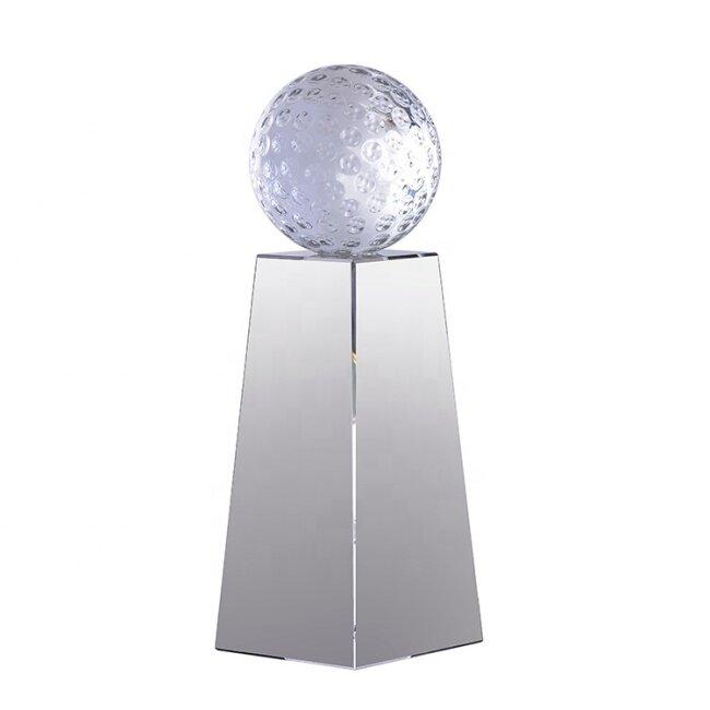 Most Popular Custom Design Laser Engraving Sports Award Crystal Pillars Trophy With Clear Base