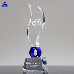 Personalized Text Engraving Elliptic Blue Flame Crystal Award Trophy