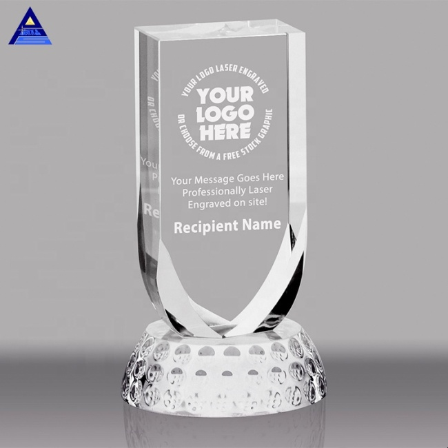Sports Competition Crystal Golf Plaque Award,Crystal Golf Paperweight, 3D Laser Crystal Ball Golf