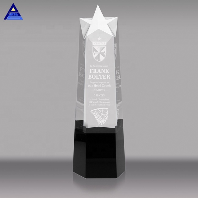 2020 New Design Star Shaped K9 Crystal Award Trophy For Excellent Employee Or Team