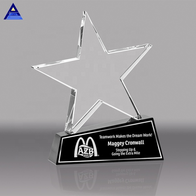 High Specification Metal Custom Five Star Crystal Trophy With Black Base