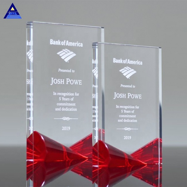 Simple Color Printing Red Crystal Award With Bow Tie Base Trophies