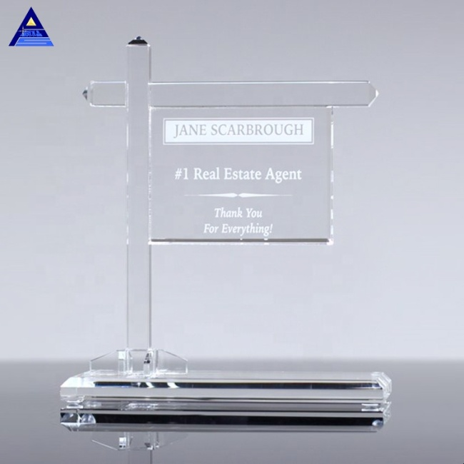 The Ciry Real Estate Corporate Crystal Award Trophy Plaque with Base