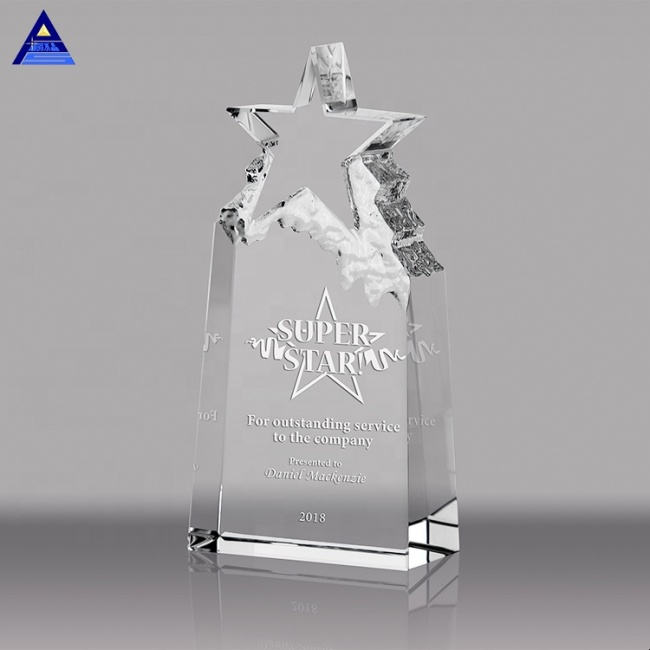 Fashionable Custom Clear Star Shaped Plaque Crystal Awards Trophy For Souvenir Gift