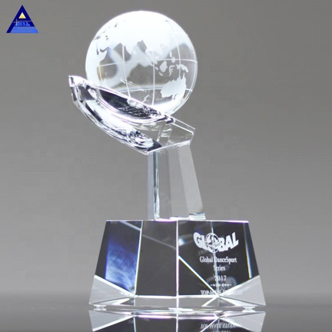 Clear Blank World Map Crystal Hand Globe With Base For Office Gift