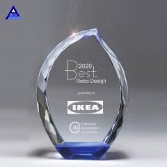 High Quality Blue Bottom Crystal Diamond Edge Cut Flame Trophy Awards
