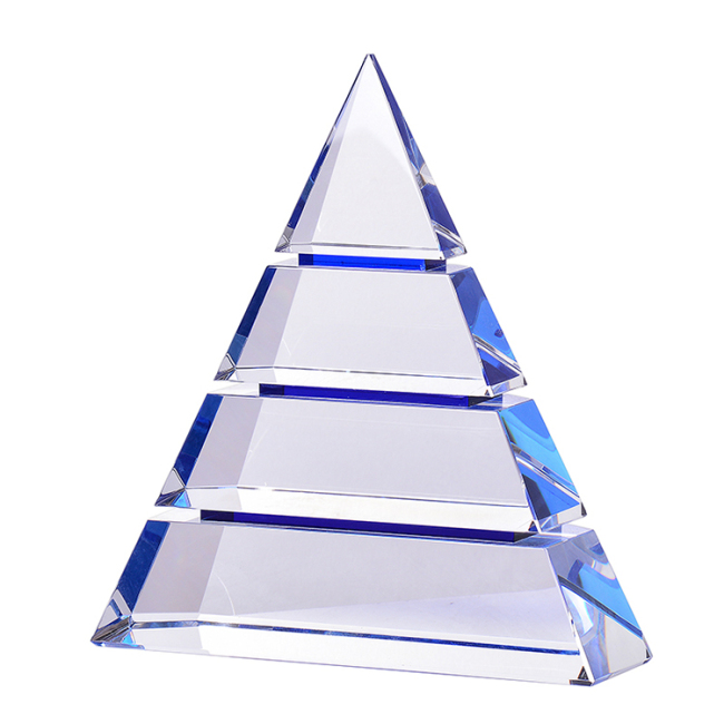 Cheap Beauty Best Design Clear Multi-Layered Triangle Crystal Trophy For Business Gifts