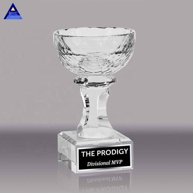 Luxury Creative Customize Import Golf Souvenir Glass Big Shape Trophy Cup Crystal Bowl