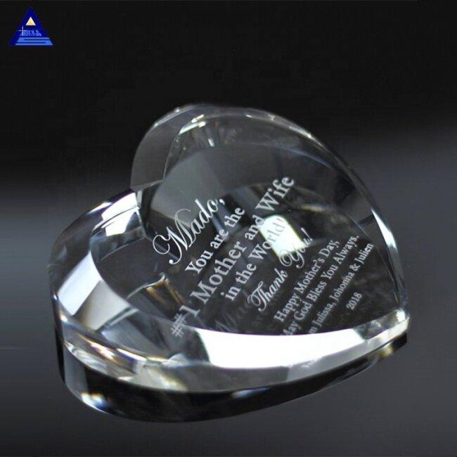 Wholesale Elegant Beveled Heart Crystal Trophy  For Sublimation