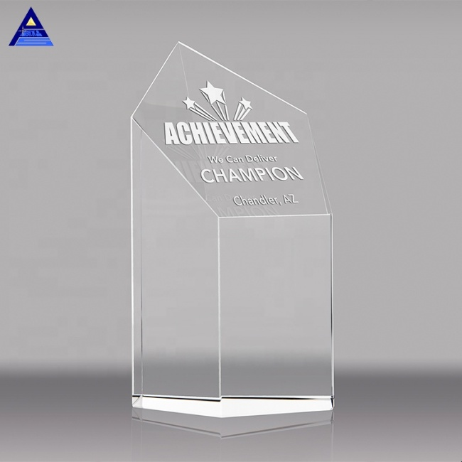 Customized K9 Shield Cut Crystal Pentagonal Prism Trophy For Promotion Souvenir