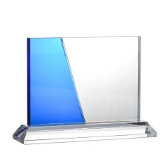 High-End Custom Blue Trophy Blank Glass Crystal Awards Plaque For Business Gift