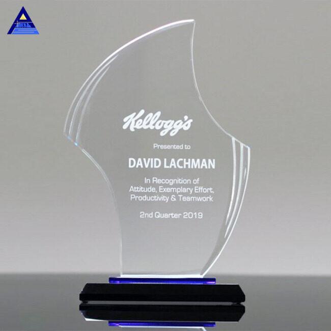 Factory Sale Diamond Clear Flame Shape Gratitude Custom Awards Trophy