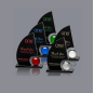 Ship Sails Shaped Crystal Personalized Trophy For Business custom Award Trophy