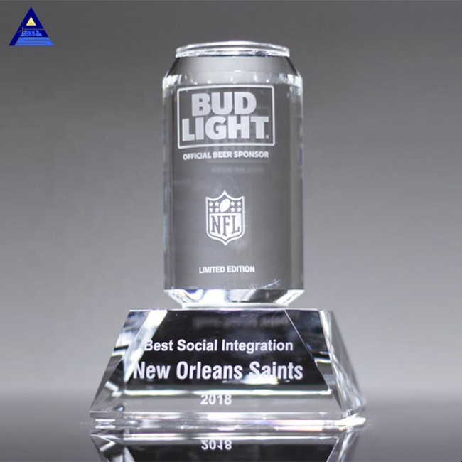 Customized Engraved Crystal Beverage Can Super Awards for Business Promotional Gifts