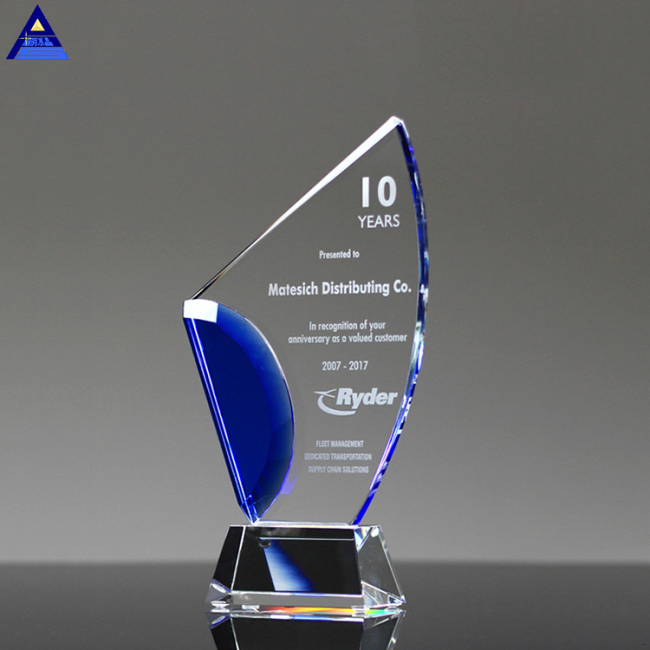 Custom Retail Blank Clear Crystal Trophy Award With Logo
