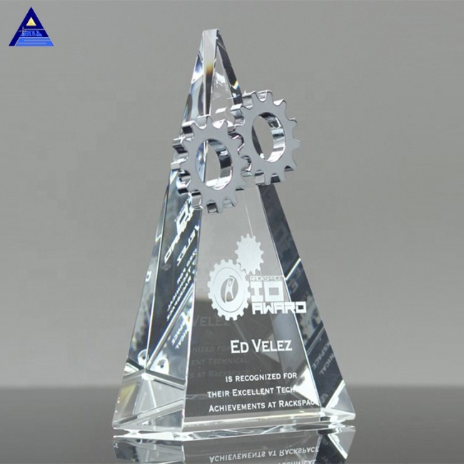 Barnard Triangle Shape Silver Trophy Crystal Gear Award