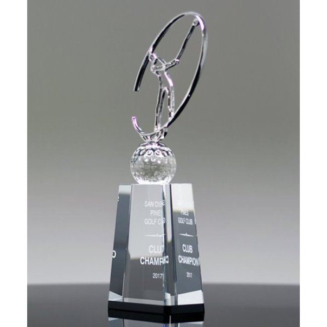 Fashion golf metal cup crystal trophy award for sports competition
