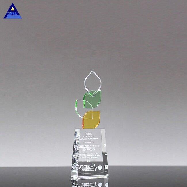 New Style Color Custom Crystal Leaf Shape Award Trophy